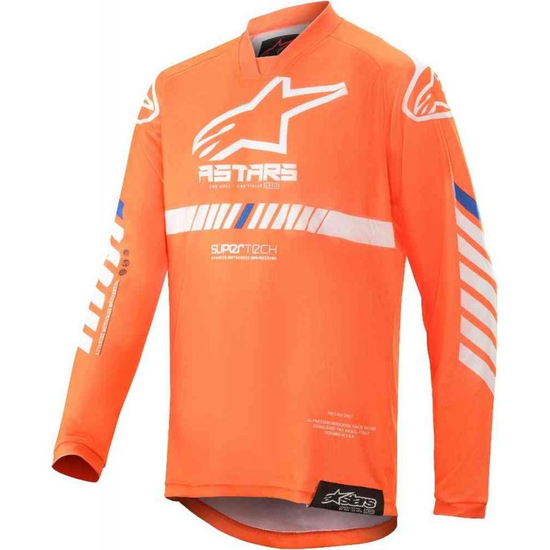 MAGLIA ALPINESTARS YOUTH RACER TECH JERSEY ORANGE FLUO/WHITE/BLUE