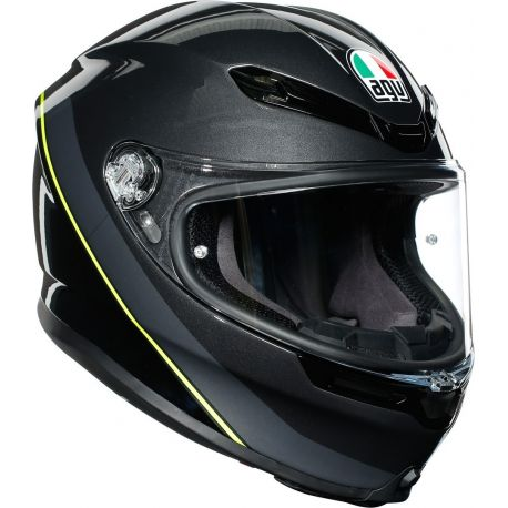 CASCO AGV K-6 MINIMAL GUNMETAL/BLACK/YELLOW FLUO