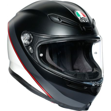 CASCO AGV K-6 MINIMAL MINERAL PURE MATT/BLACK/WHITE/RED