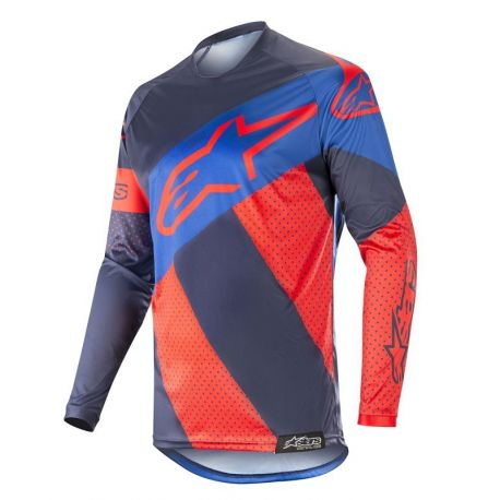 MAGLIA ALPINESTARS RACER TECH ATOMIC JERSEY RED DARK NAVY BLUE