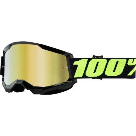 MASCHERA 100% STRATA 2 NERO/GIALLO FLUO/LENTE MIRROR GOLD