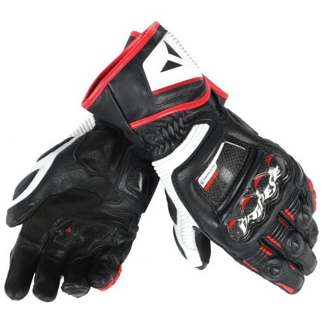 GUANTO DAINESE DAINESE PELLE DRUID D1 LONG BLACK/WHITE/LAVA RED